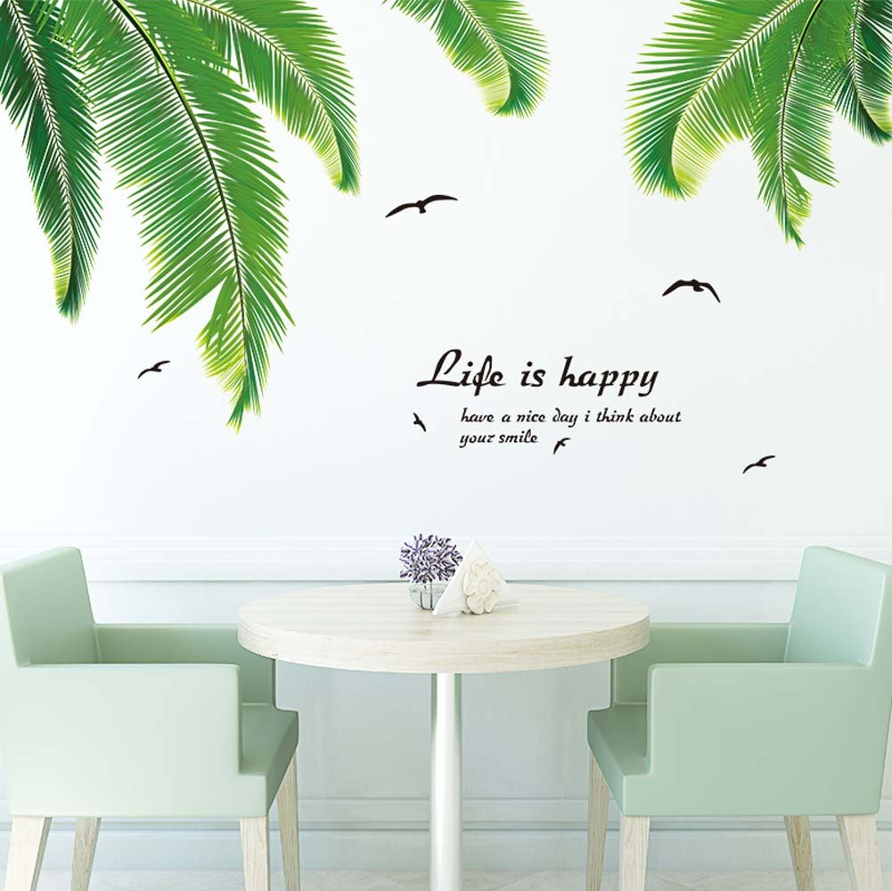 decalmile Branch Wall Stickers Gold Tree Leaves Wall Decals Bedroom Living Room Wall Decor