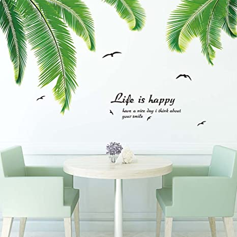 Hlb Walldecals Decor Vinyl Diy Palm Tree Leaves Wall Stickers For