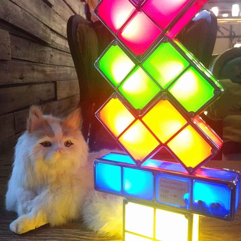 Leegoal Tetris Lampe Lampe DIY Tetris lumi/ère de Nuit 7 Couleurs empilables Puzzles 7 pi/èces LED Induction Verrouillage Lampe 3D Jouets id/éal pour Les d/écorations /à la Maison