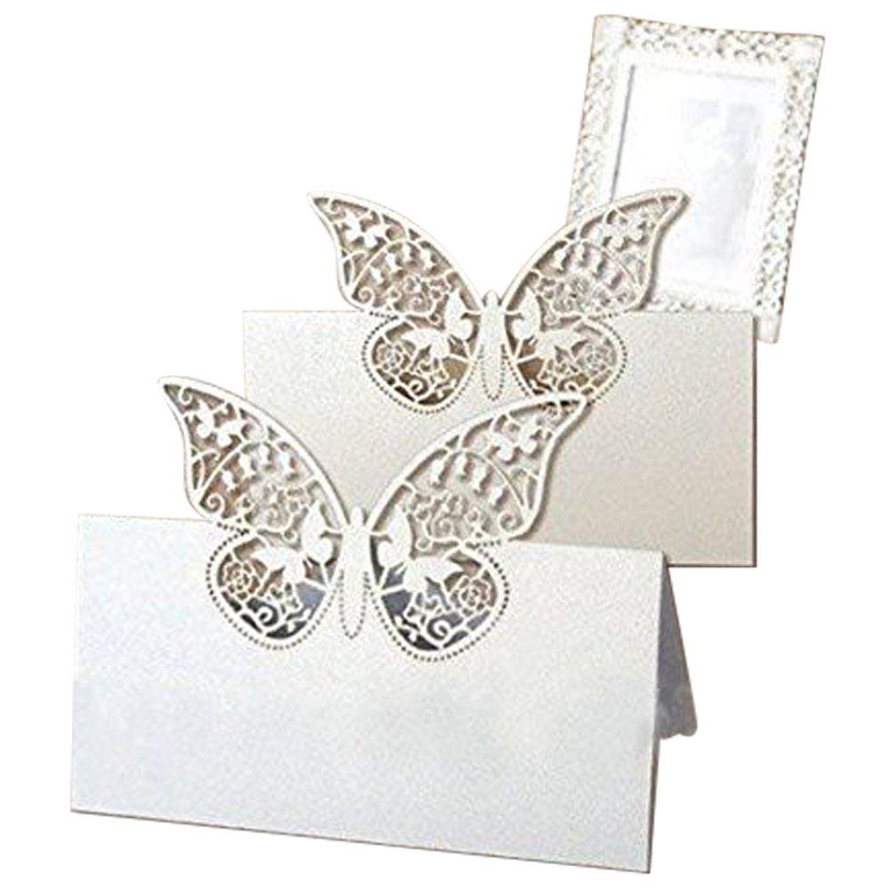 Tarjetas con mariposas para indicar la ubicación en la mesa de los invitados a la boda, 20 unidades, blanco nacarado