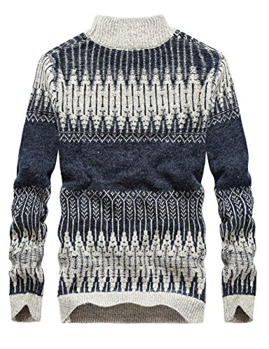 S.FLAVOR Men's Full Sleeve Jacquard Pattern Knit Turtleneck Sweater(Dark Grey,S) by S.FLAVOR (Image #2)