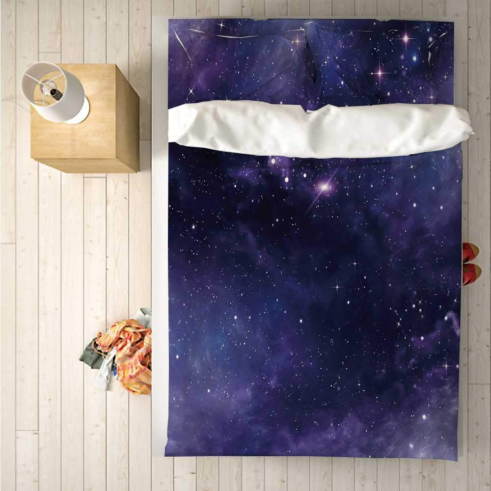 Eggplant Soft 4 Piece Bedding Set,Sky with The Open Space Star Constellations and Gloomy Atmosphere Heavenly Bodies for Bedroom,One Side Print : Singe