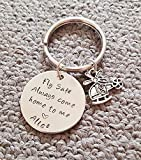 Fly Safe Key Chain with Helicopter, Always Come Home to Me, Handstamp, Pilot Gift, Captain Be Safe Gift, Police Officer Gift