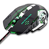 Zinq Technologies ZQGM-1070 3200 DPI LED Backlight 6 Button USB Gaming Mouse with Nylon Braided Cable (Black)