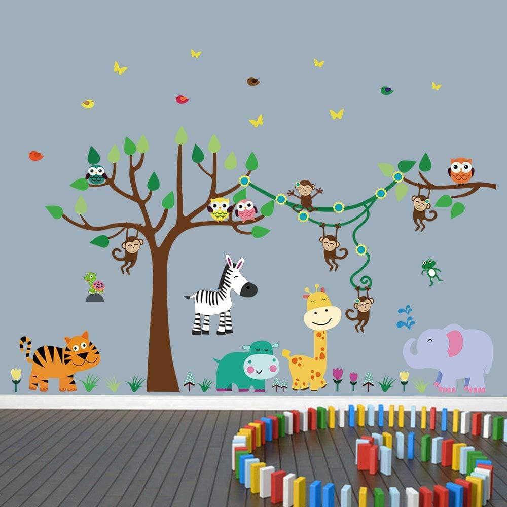 WINDVALE Watercolor Giraffe Monkey Elephant Lion Panda Zoo Art Wall Stickers Decal for Nursery Home Decor Children Courtyard Baby Room