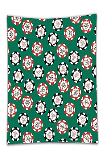 Interestlee Satin drill Tablecloth?Casino Decorations Stylized Poker Chips Pirate Symbols Money Sword Cross Bone Skull Risk Dining Room Kitchen Rectangular Table Cover Home Decor