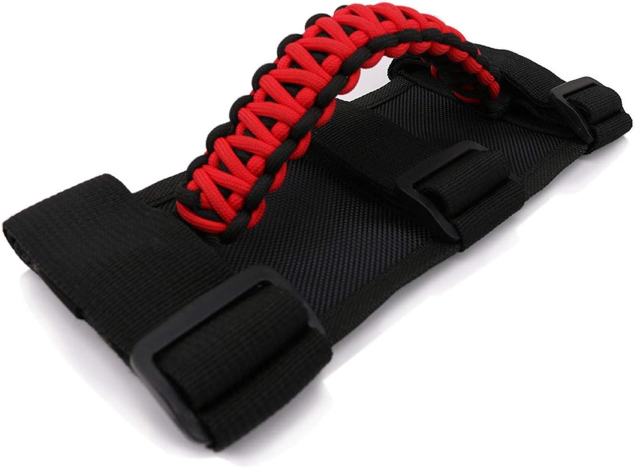 Upgrade Paracord Grab Handles Roll Bar Grab Grip Handles for Jeep Wrangler YJ TJ JK JL UTV Red with Black Straps