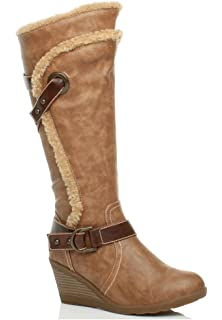 Womens Ladies Wedge Leather Style Mid Heel Strappy Fur Trim Zip Calf Winter Boots Size XW_4678