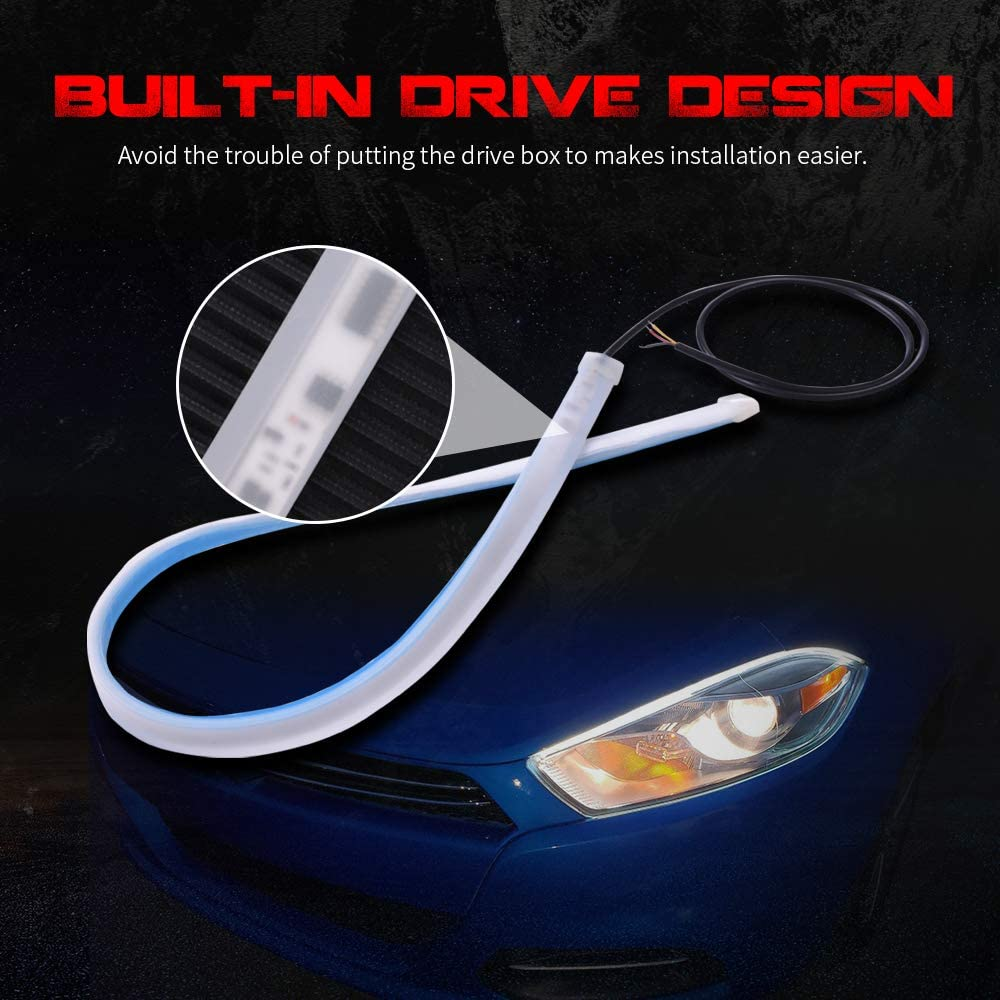 MICTUNING Flexible Led Light Strip 2Pcs 24 Inches Dual Color White-Amber Sequential Turn Signal Tube Light Surface Headlight Decorative Lamp Kits