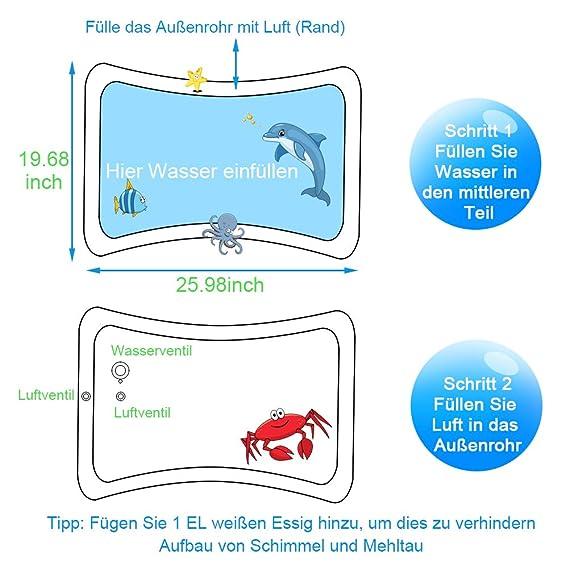 Alfombra Inflable con Agua, Swonuk Tummy Time Mat 66 * 50 Juego de Esterilla de Agua PVC Grueso Inflable Alfombra de Juego de Agua para Bebés para Niños ...