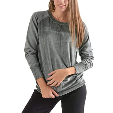 88bad85d9e37a Champion Regularfit Sweat Femme Gris  Amazon.fr  Vêtements et ...