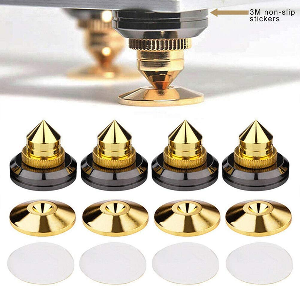 Haplws Golden-Plated Speaker Spikes Cones Self Adhesive Pads Audio Subwoofer Stand Spikes Isolation Pads Shockproof Mat 4Pcs
