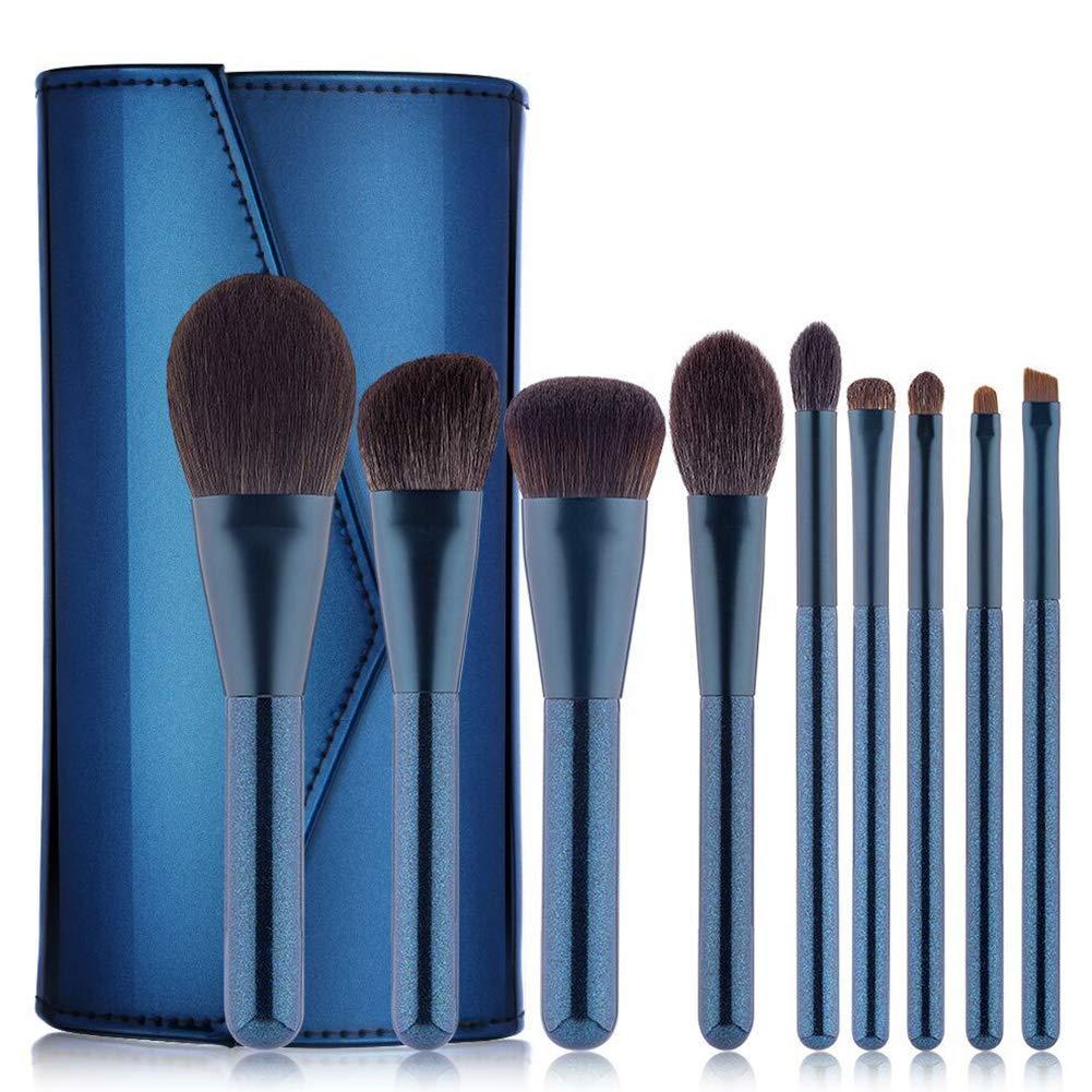 明るい革のPUバッグポータブル旅行ブラシと木製のハンドルで設定されたパールブルーメイクブラシ美容美容ツールの9個 B07PWNX8R5