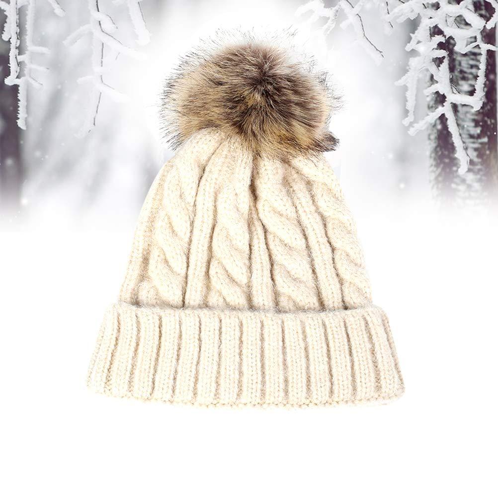 da8a0f2e6 Winter Warm Knit Hat Pom Hat Crochet Hairball Beanie Cap for Women ...