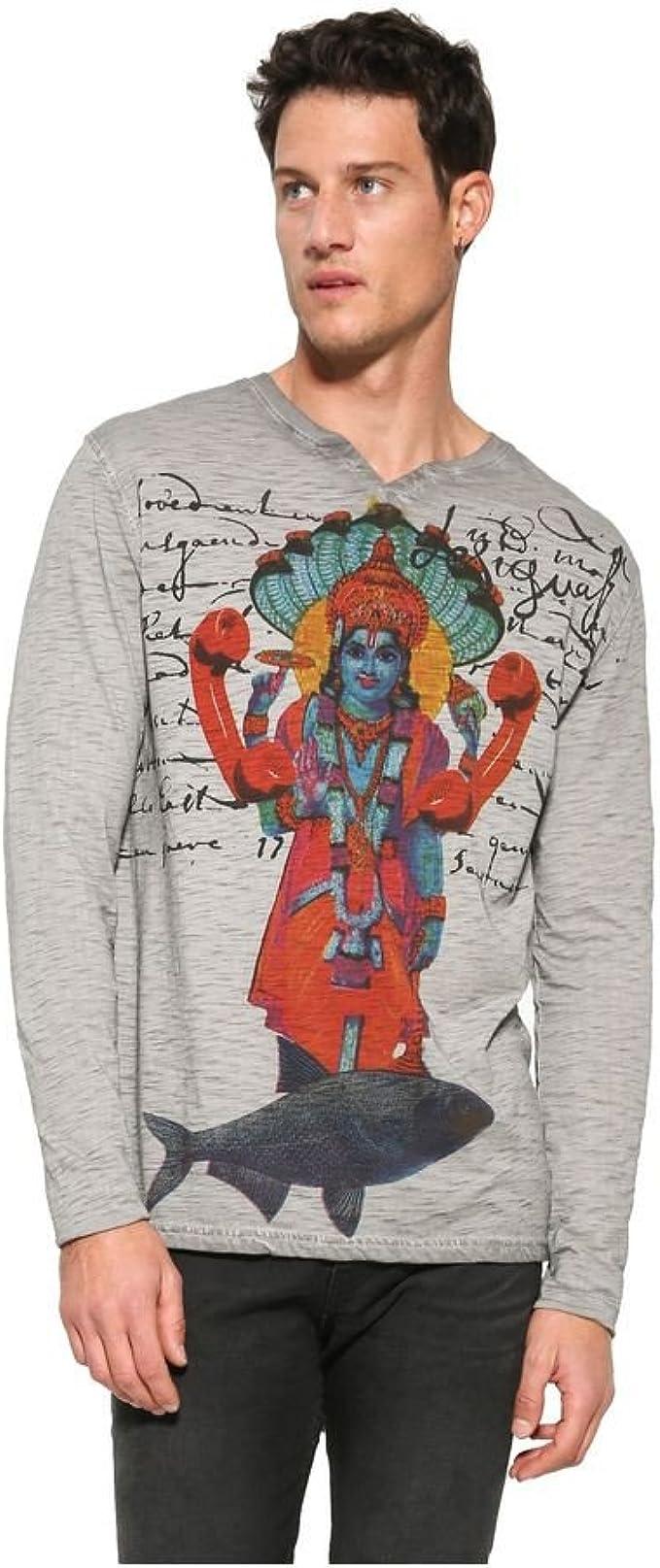 Desigual - Camiseta - para hombre Gris gris S: Amazon.es: Ropa y accesorios