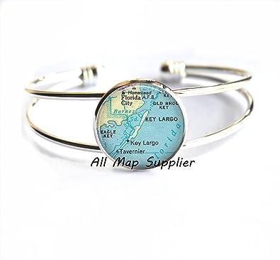 Florida Keys Map.Amazon Com Charming Bracelet Florida Keys Map Bracelets Key Largo