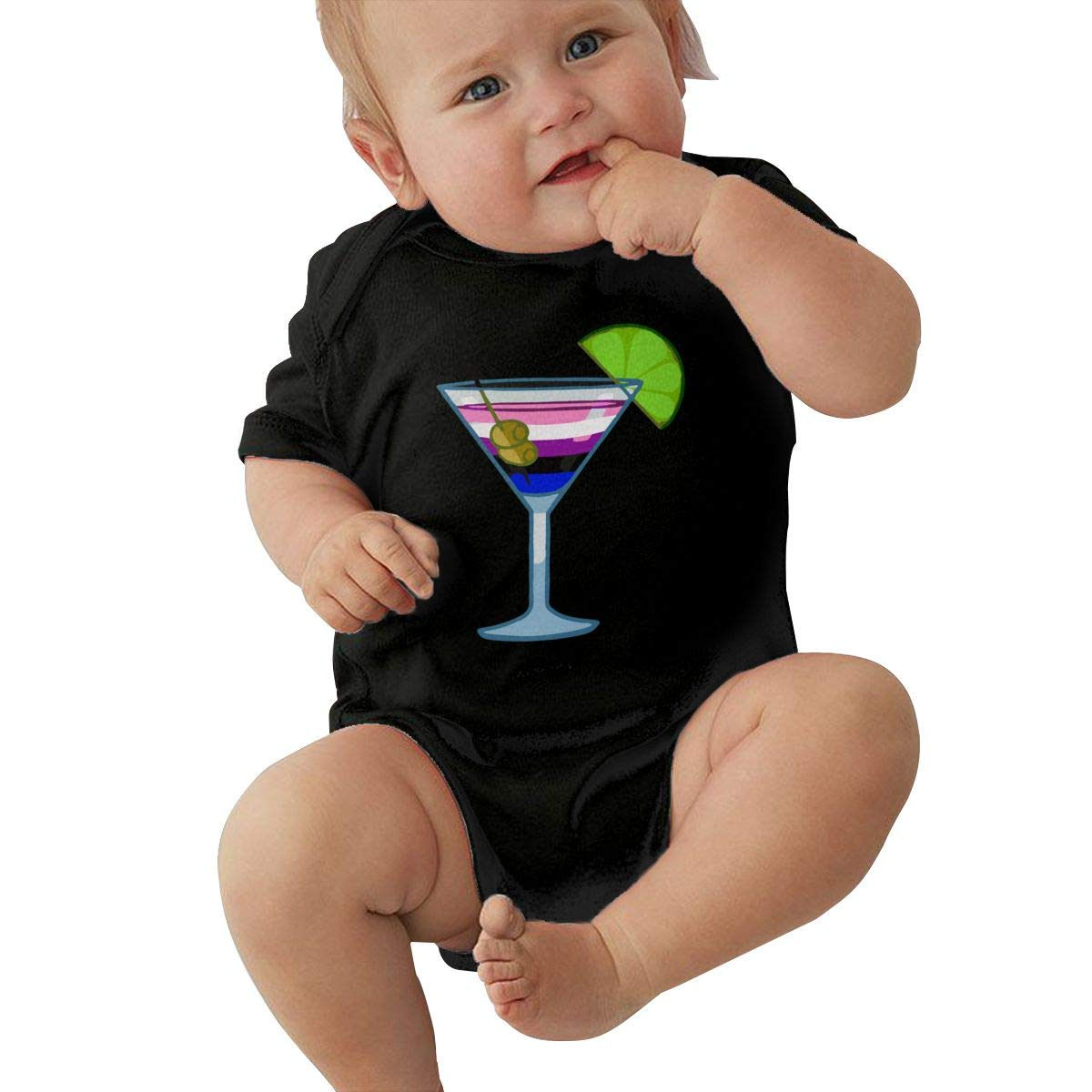 Mri-le2 Newborn Baby Short Sleeve Bodysuit Genderfluid Cocktail 1 Kid Pajamas