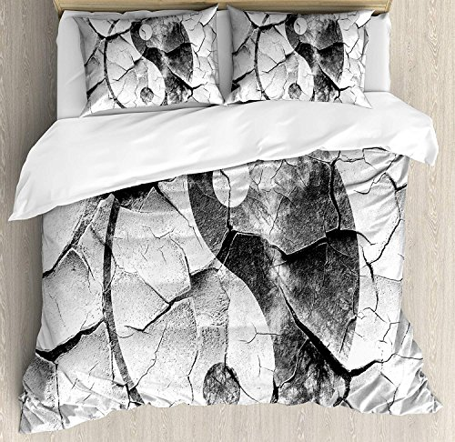 4 Piece King Size Duvet Cover Set,Ying Yang Grunge Cracked Yin Yang Sign The Wall Union Asian Zen,Bedding Set Luxury Bedspread(Flat Sheet Quilt and 2 Pillow Cases for Kids/Adults/Teens/Childrens -