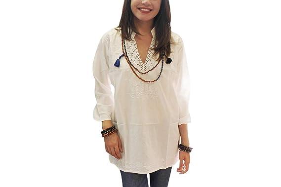 Amazon.com: Blusa bordada de túnica blanca para mujer, talla ...