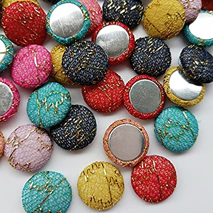 100 Round Fabric Covered Button Flatback for Card Making 15mm