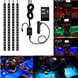 #2: 4Pcs Multicolor Car RGB LED Strip Light, YANF DC12V/72LEDs Car Glow Interior Atmosphere Floor Lights Neon Under Dash Lighting Kit with Sound Music Active Function and Wireless Remote Control