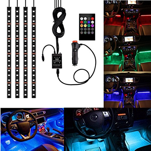 4Pcs Multicolor Car RGB LED Strip Light, YANF DC12V/72LEDs Car Glow Interior Atmosphere Floor Lights Neon Underdash Lighting Kit with Sound Music Active Function and Wireless Remote Control