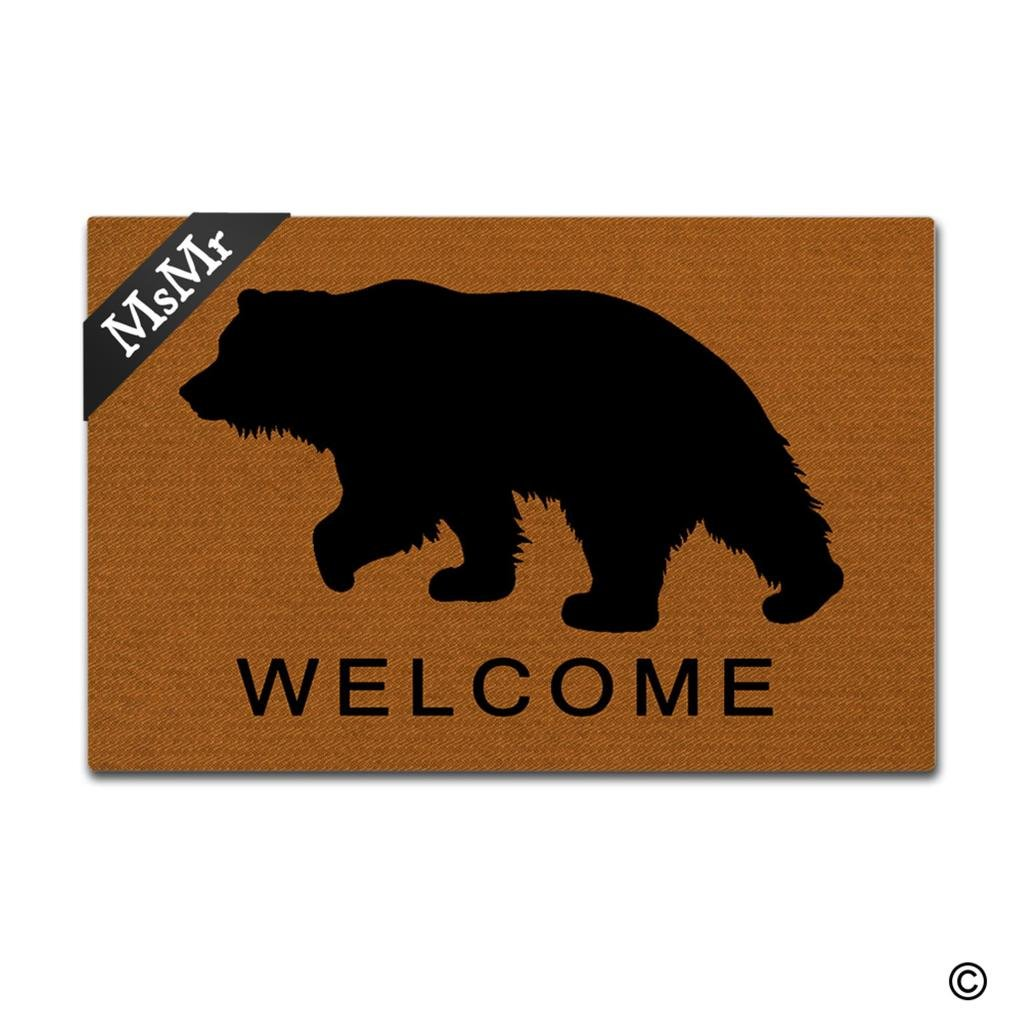 MsMr Funny Door Mat Entrance Front Door Mat Animal Welcome Bear Home Doormat Indoor Outdoor Decor Doormat Non-Slip Rubber Backing Mat 30x18 Inch
