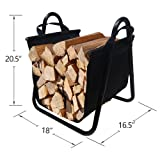 Fireplace Log Holder with Canvas Tote Carrier