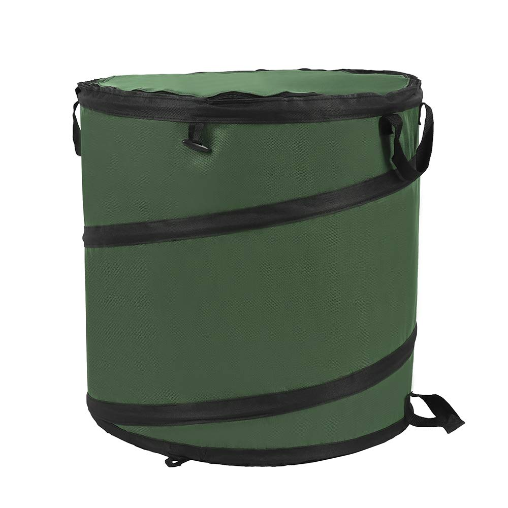 RTWAY 23 Gallon Pop Up Gardening Bag, Garden Waste Bag Reusable Gardening Lawn and Leaf Bag Collapsible Yard Waste Bag Trash Can with Zip Closed Lid
