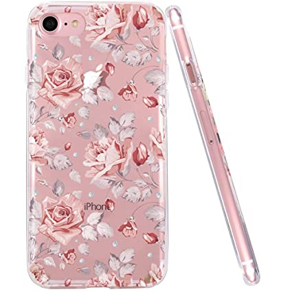 idocolors Pink Case for iPhone 6s Floral Clear Design Flower Cover for  iPhone 6 Soft TPU Slim Bumper Protective Shockproof for iPhone 6s / 6