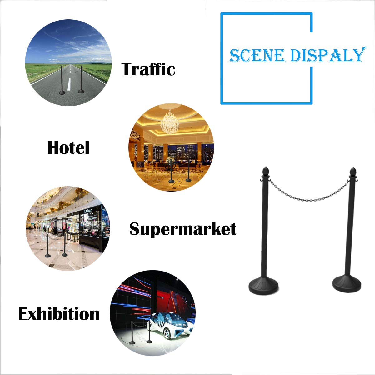 Pack of 4 Crowd Control Stands Black Plastic Stanchion Posts Set Barrier with 3PCS 40 Link Chain and C-Hooks