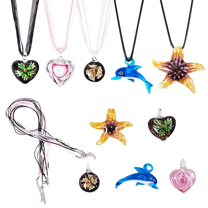 Aqua Pink Swirl Heart Lampwork Glass Murano Bead Pendant Ribbon Cord Necklace