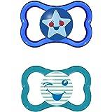 MAM - Conjunto de 2 chupetes con esterilizable estuche de viaje, azul (azul / verde), 6 meses