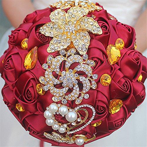 MOJUN Romantic Customization Bride Wedding Holding Bouquet Ribbon Roses Bouquet Pearl Gold Diamond Rhinestone Decor(Dia:24cm, Burgundy)]()