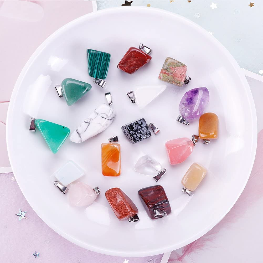 Assorted Color /¡/­ Keyzone 60 Pieces Irregular Healing Gemstone Pendants Charms Crystal Chakra Beads Necklace
