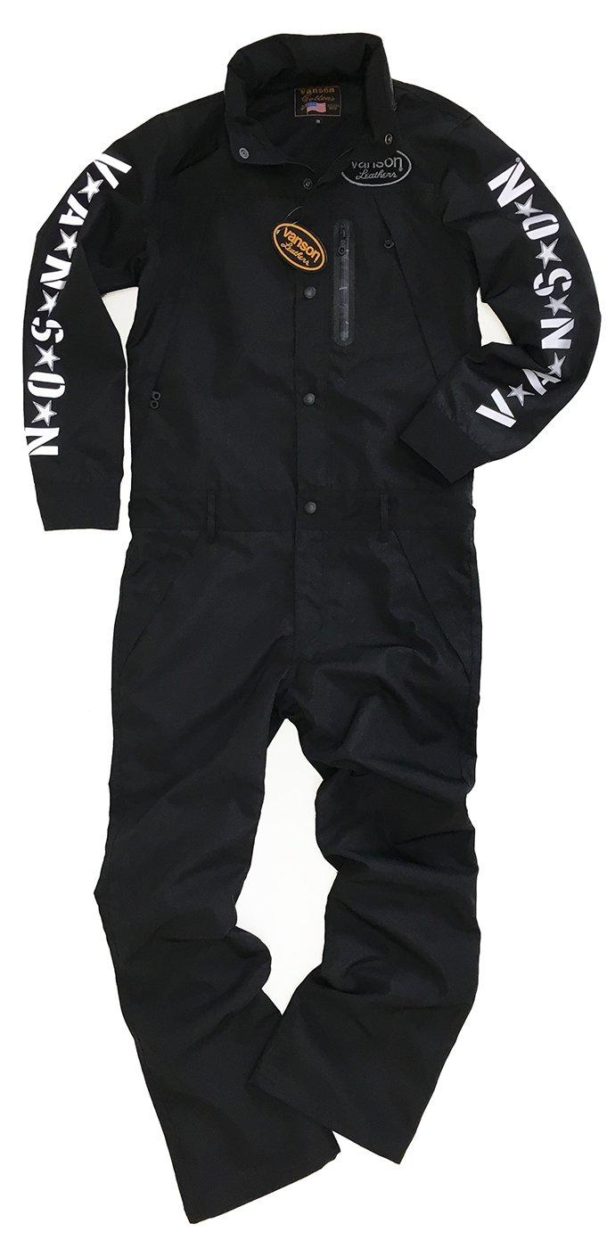 VANSON(バンソン)つなぎ 弱撥水加工 オールインワン バイカー NVAO-702 B071D3LXMR L|ブラック ブラック L
