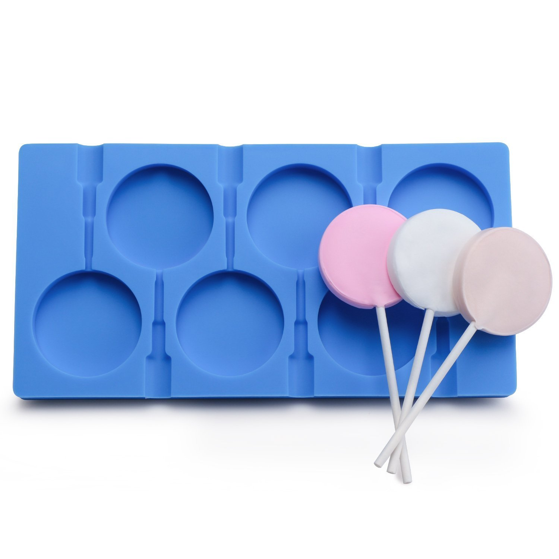 Moules à sucettes, 6cavités pour fabrication de grandes sucettes, de glaces, décoration de gâteaux, 50 bâtonnets