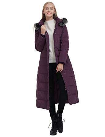 9e2b332c88 ilishop Women s Thickened Maxi Down Jackets- Hooded Long Down Jacket Winter  Parka Puffer Coat (