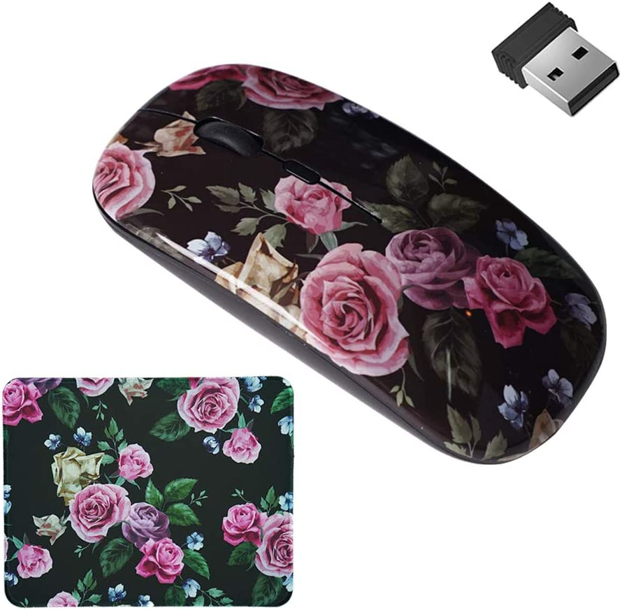 LIZIMANDU Gaming Mouse and Mouse Pad Set,Wireless Computer Mouse | Mouse Pad for Home, Office(L2-Black Rose)