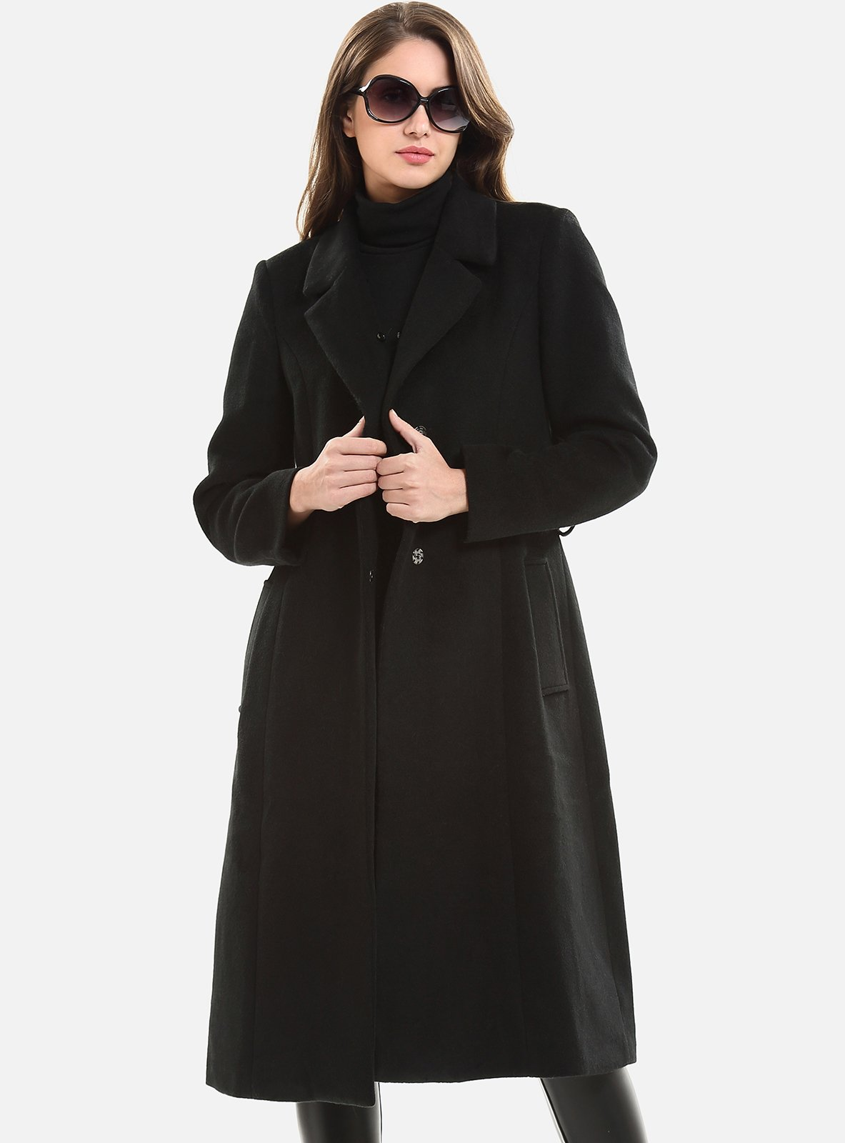 Escalier Women`s Wool Trench Belt Long Coat with Fur Collar Black 4XL by Escalier (Image #5)