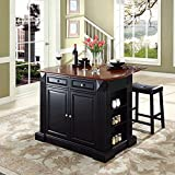 Kitchen Island with Bar Seating Crosley Furniture Drop Leaf Breakfast Bar Top Kitchen Island in Black Finish with 24-Inch Black Upholstered Saddle Stools