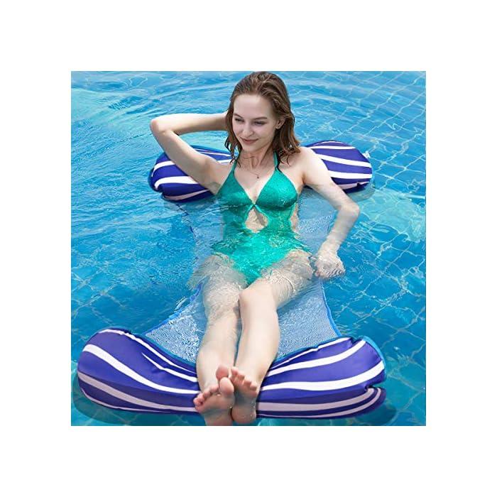 【Alta calidad】El flotador de la piscina está hecho con PVC de alta calidad que es duradero y ecológico con una superficie suave, lo que garantiza que no se dañe ni raye. Algunas telas se desvanecen, desgarran o encogen fácilmente, sin embargo, la nuestra puede conservar su forma, color y rendimiento originales incluso después de muchos usos. 【Hamaca Flotante Versátil】El verano está aquí, y probablemente estés preparando las cosas para los días de ocio alrededor de la piscina. ¡Entonces deberías considerar este flotador de piscina! Puede usarlo como una hamaca, una silla de descanso, un vagabundo o una silla de montar, y pasar un día realmente encantador jugando y relajándose en el agua. 【Relajante y cómodo】¡Lleva tu flotador de piscina Aiglam a la piscina para disfrutar todo el día de puro placer! Está semi-sumergido para una mayor comodidad de enfriamiento, y está diseñado ergonómicamente para brindar un gran apoyo a todo su cuerpo con su almohada flotante, el asiento central de malla y el cómodo reposapiés.