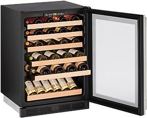 "U-Line U1224WCS00B 24"" Built-In Wine Storage, Stainless Steel"