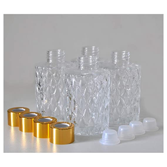 93687410c853 Ougual Set of 4 Diamond Carving Cylindrical Glass Essential Oils Diffuser  Bottles (120ML, Silver Caps)