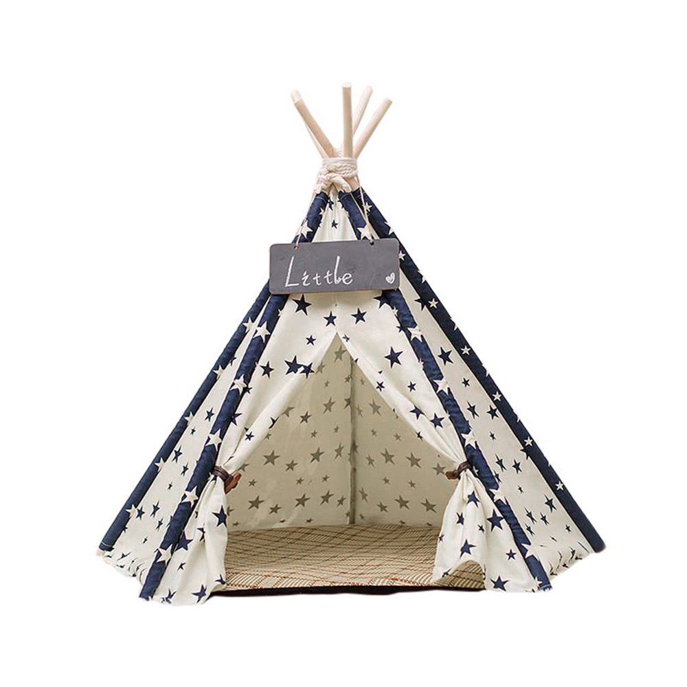 Roblue Pet Tent Indian Teepee Canvas Tipi for Dogs Cats Puppy Kitty Rabbits
