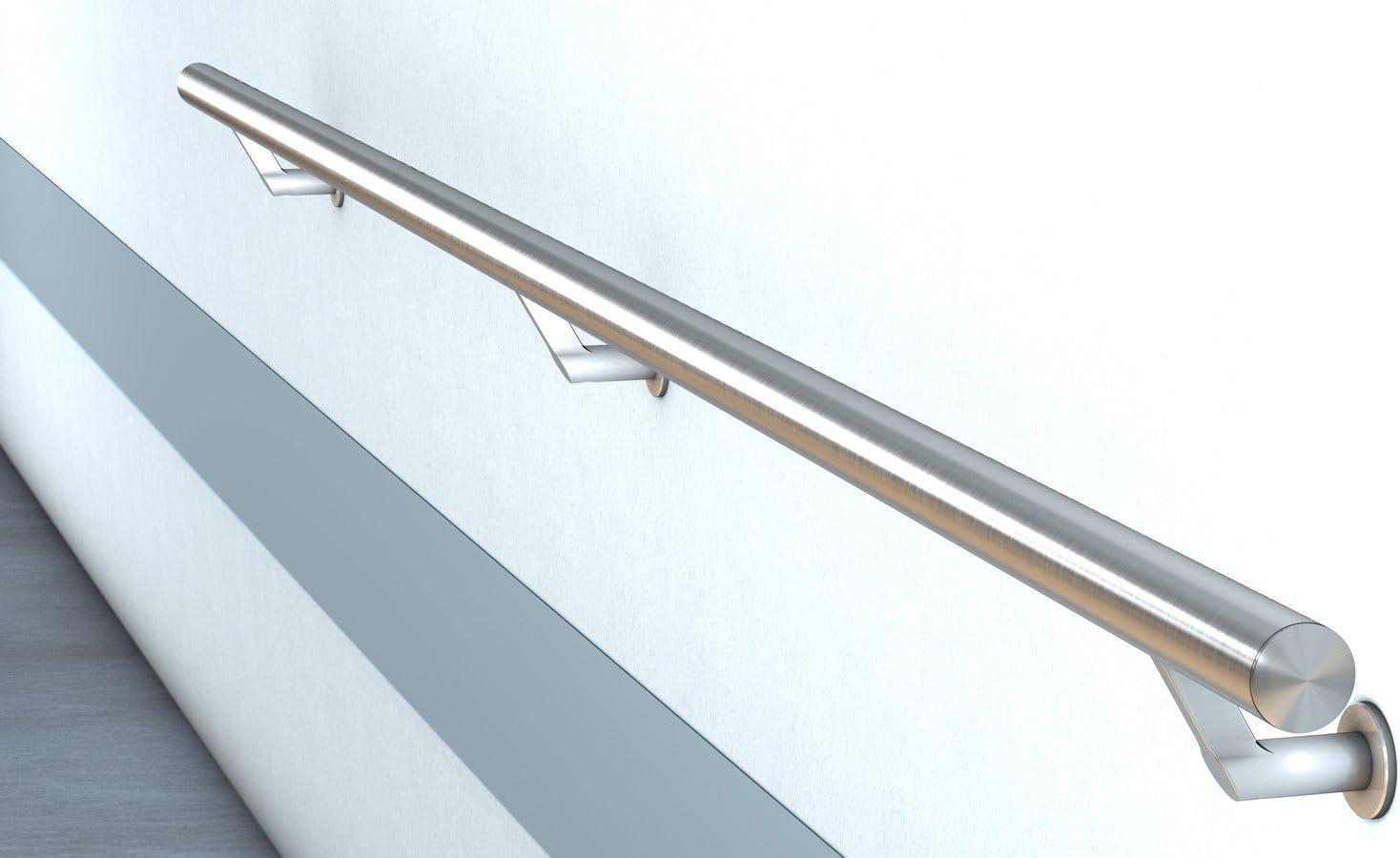 2,3 m - einteilig Edelstahl Handlauf V2A Fertighandlauf Gel/änder Treppe Griff /Ø42,4x2 mit diagonale Tr/äger