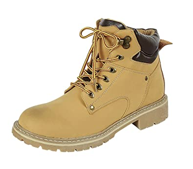 Women's Closed Round Toe Lace-Up Padded Collar Lug Sole Hiking Work Ankle Boot