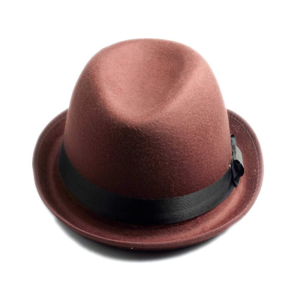 Unisex Men Women Wool Felt Fedora Hat Felt Floppy Ribbon Band England Panama Jazz Cap