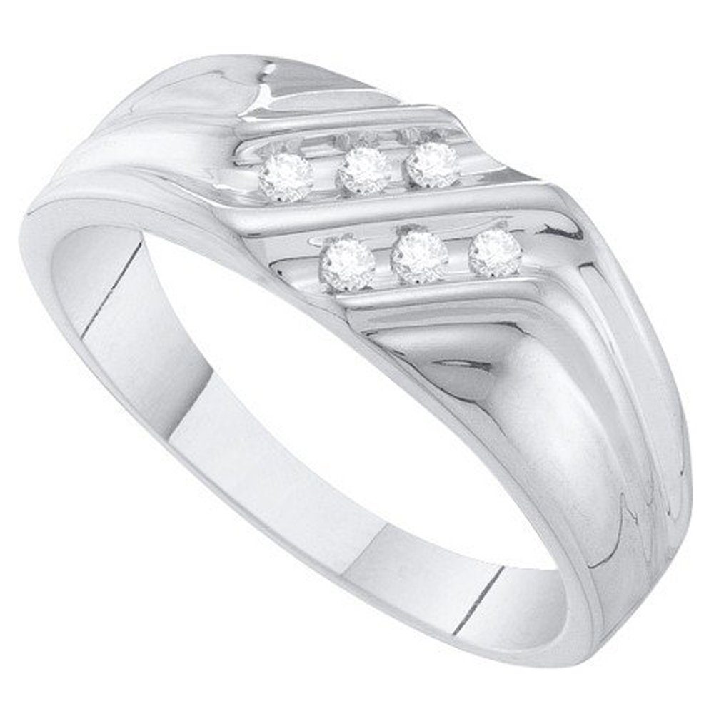 ctw Dazzlingrock Collection 0.12 Carat 10K Round Cut White Diamond Mens Fashion Ring Wedding Band White Gold