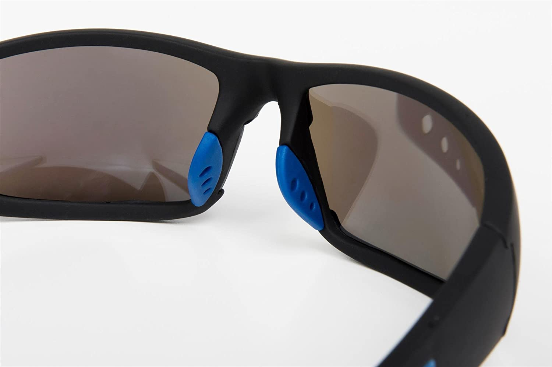 styleBREAKER Sport Sonnenbrille verspiegelt oder getönt, Vollrand Sportbrille mit weichen Nasenbügeln, Unisex 09020047, Farbe:Gestell Schwarz-Rot / Glas Orange-Rot verspiegelt